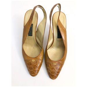 Vintage Gucci Slingback Heels Size 37 US 7 Brown